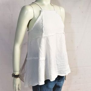 ZARA FLOWY WHITE SLEEVELESS SUMMER BLOUSE SMALL